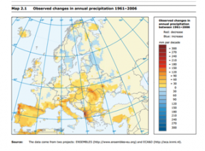 Changes in annual rain precipitation in Europe